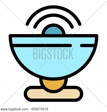 Satellite Tv Icon. Outline Satellite Tv Vector Icon Color Flat Isolated
