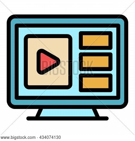 Flat Interactive Tv Icon. Outline Flat Interactive Tv Vector Icon Color Flat Isolated