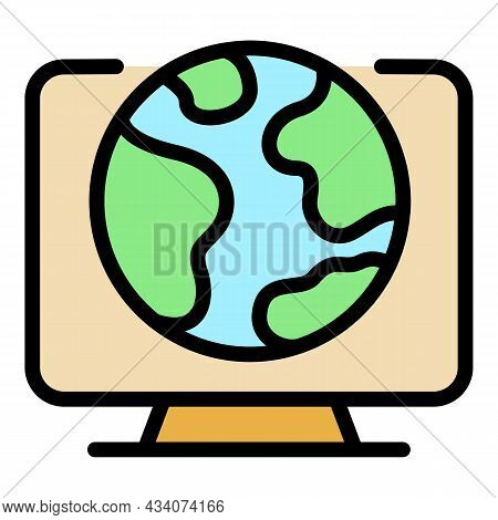 Global Interactive Tv Icon. Outline Global Interactive Tv Vector Icon Color Flat Isolated