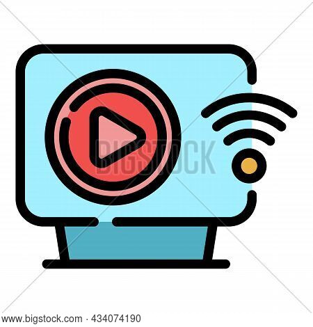 Interactive Tv Wifi Icon. Outline Interactive Tv Wifi Vector Icon Color Flat Isolated