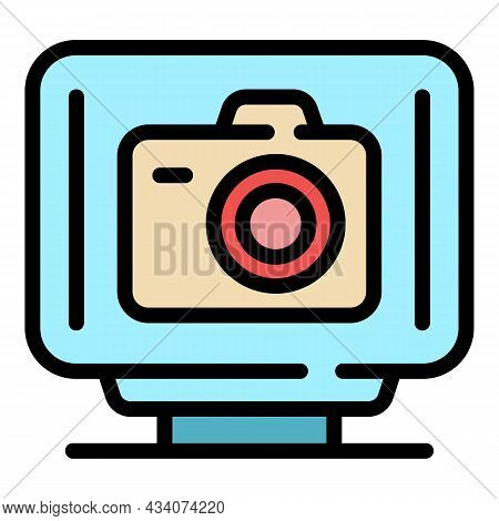 Interactive Tv Photo Icon. Outline Interactive Tv Photo Vector Icon Color Flat Isolated