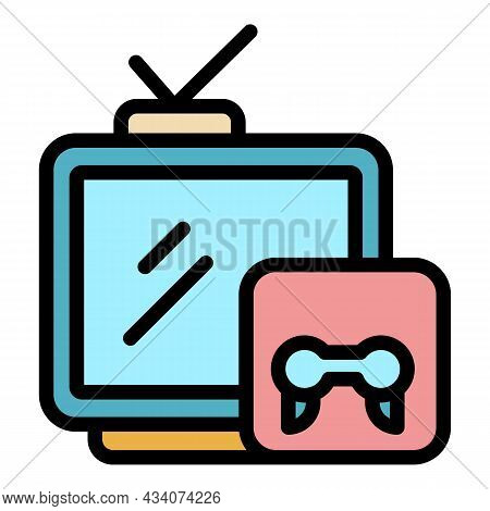 Interactive Tv Gaming Icon. Outline Interactive Tv Gaming Vector Icon Color Flat Isolated