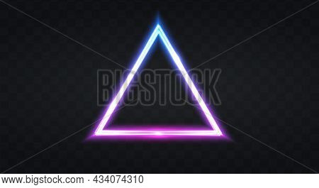 Neon Frame For Your Design. Neon Pyramid Lights Sign. Abstract Neon Background For Signboard Or Bill