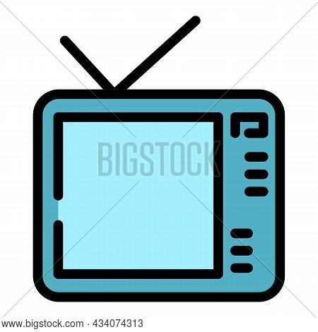 Interactive Tv Media Icon. Outline Interactive Tv Media Vector Icon Color Flat Isolated