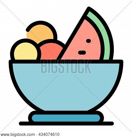 Tasty Fruit Salad Icon. Outline Tasty Fruit Salad Vector Icon Color Flat Isolated