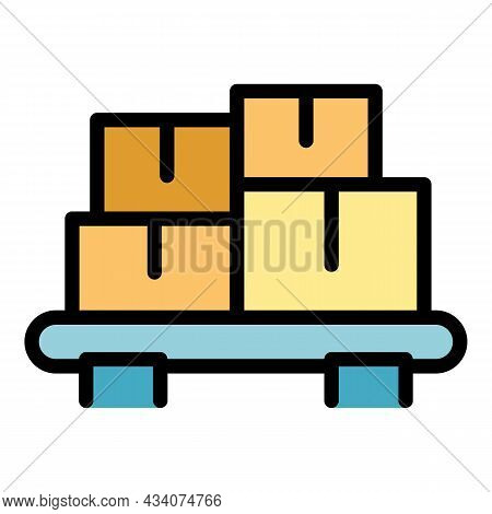 Car Roof Carton Box Icon. Outline Car Roof Carton Box Vector Icon Color Flat Isolated