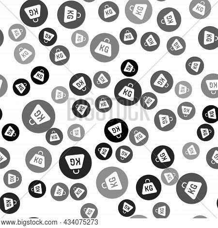 Black Weight Icon Isolated Seamless Pattern On White Background. Kilogram Weight Block For Weight Li
