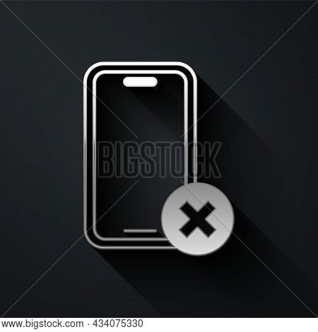 Silver No Cell Phone Icon Isolated On Black Background. No Talking And Calling Sign. Cell Prohibitio