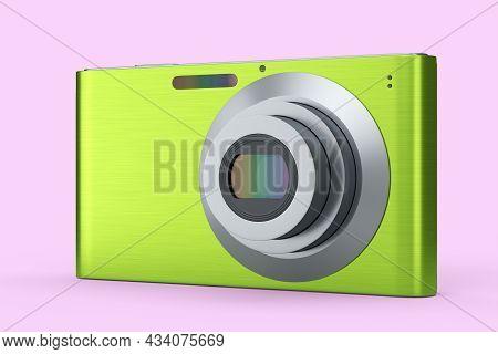 Stylish Greeb Compact Pocket Digital Camera Isolated On Pink Background