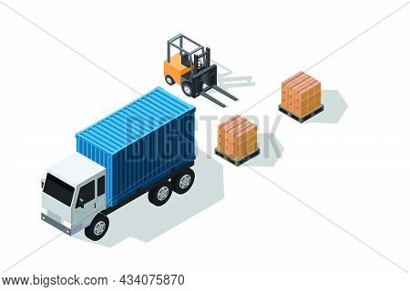 Isometric Illustration Warehouse Where Goods Are Stored On Pallets With Cargo Container Truck And Fo