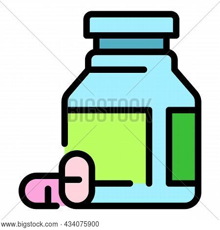 Allergy Capsules Icon. Outline Allergy Capsules Vector Icon Color Flat Isolated