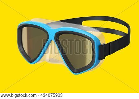 Blue Diving Mask Isolated On A Yellow Background