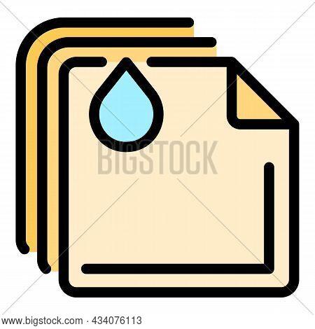 Wet Handkerchief Icon. Outline Wet Handkerchief Vector Icon Color Flat Isolated