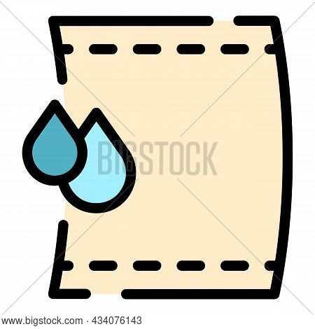 Wet Towel Icon. Outline Wet Towel Vector Icon Color Flat Isolated