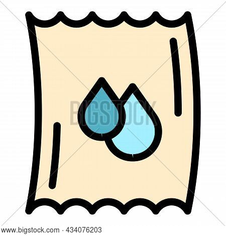 Wet Tissue Icon. Outline Wet Tissue Vector Icon Color Flat Isolated