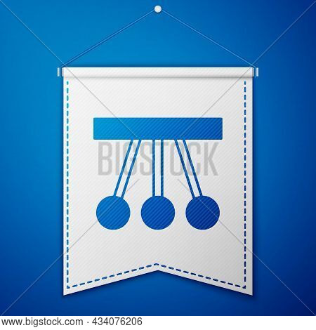 Blue Pendulum Icon Isolated On Blue Background. Newtons Cradle. White Pennant Template. Vector