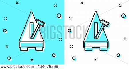 Black Line Classic Metronome With Pendulum In Motion Icon Isolated On Green And White Background. Eq