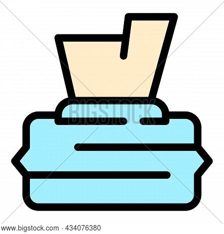 Sanitary Wet Wipes Icon. Outline Sanitary Wet Wipes Vector Icon Color Flat Isolated