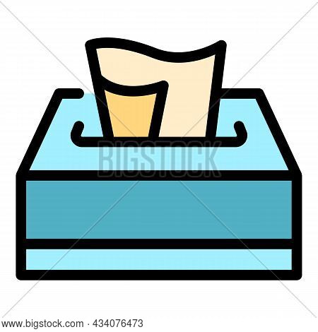 Tissue Box Icon. Outline Tissue Box Vector Icon Color Flat Isolated