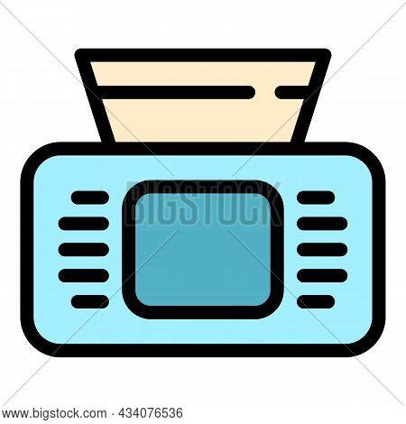 Disposable Napkin Box Icon. Outline Disposable Napkin Box Vector Icon Color Flat Isolated