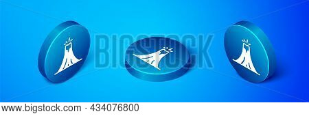Isometric Volcano Eruption With Lava Icon Isolated On Blue Background. Blue Circle Button. Vector