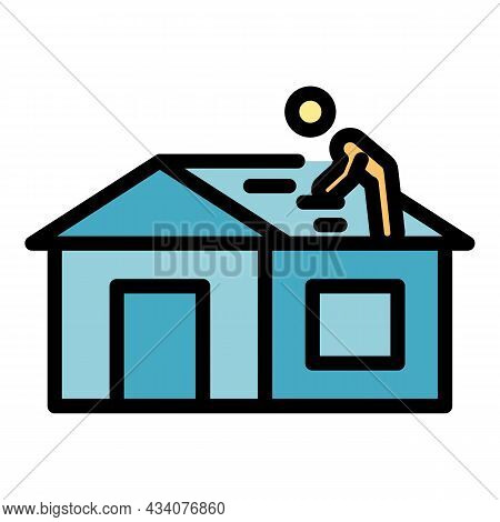 Careless Roof Builder Icon. Outline Careless Roof Builder Vector Icon Color Flat Isolated