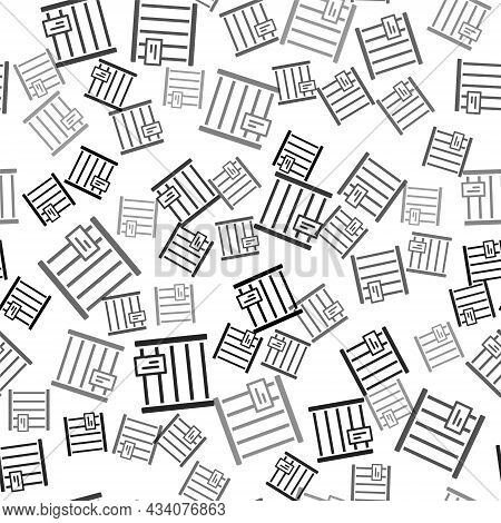 Black Animal Cage Icon Isolated Seamless Pattern On White Background. Vector