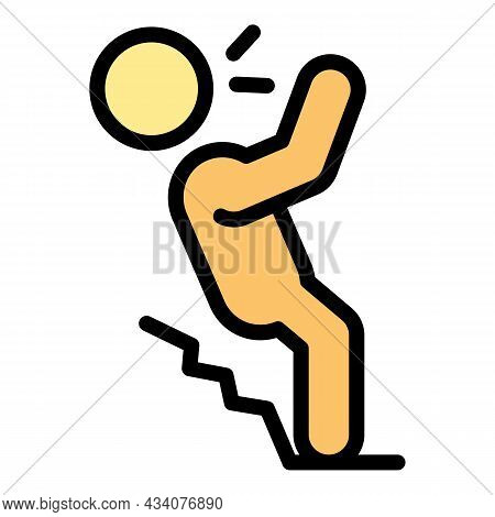 Careless Person Stairs Icon. Outline Careless Person Stairs Vector Icon Color Flat Isolated