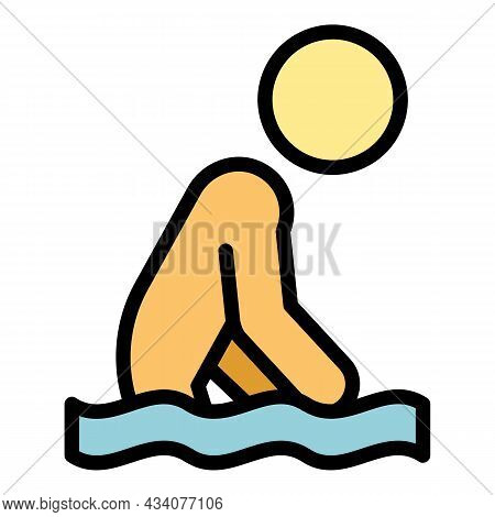 Careless Swimming Icon. Outline Careless Swimming Vector Icon Color Flat Isolated
