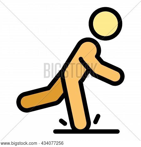 Careful Person Icon. Outline Careful Person Vector Icon Color Flat Isolated