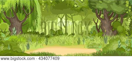Glade In The Green Summer Forest. Willows And Oaks In The Grass. Flat Cartoon Style. Rural Landscape