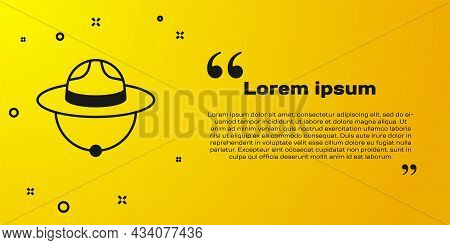 Black Canadian Ranger Hat Uniform Icon Isolated On Yellow Background. Vector