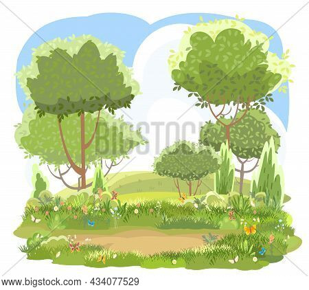 Glade. Amusing Beautiful Vegetation Landscape. Cartoon Style. Hills With Grass And Trees. Cool Roman
