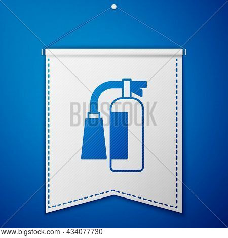Blue Fire Extinguisher Icon Isolated On Blue Background. White Pennant Template. Vector