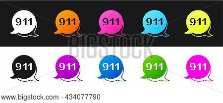 Set Telephone With Emergency Call 911 Icon Isolated On Black And White Background. Police, Ambulance