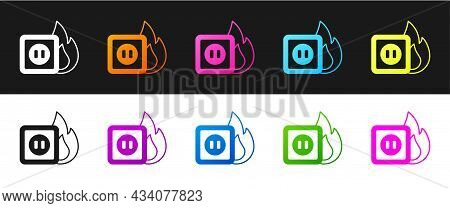 Set Electric Wiring Of Socket In Fire Icon Isolated On Black And White Background. Electrical Safety