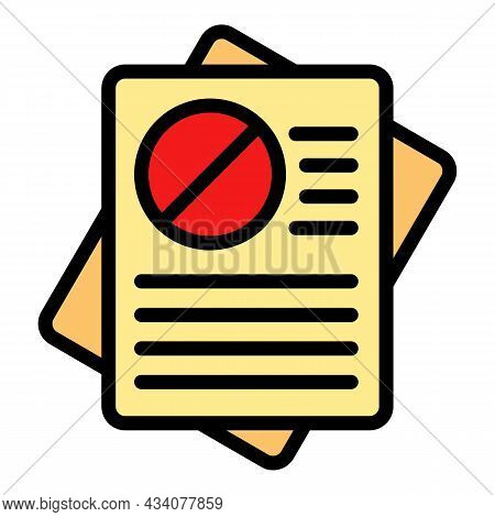 Rejected Documents Icon. Outline Rejected Documents Vector Icon Color Flat Isolated