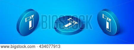Isometric Fire Extinguisher Icon Isolated On Blue Background. Blue Circle Button. Vector