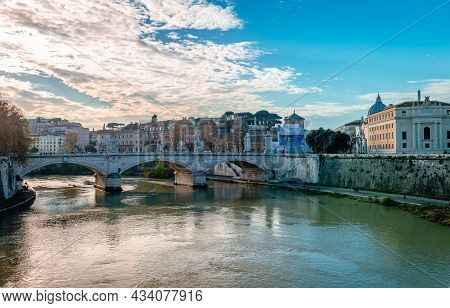Rome, Italy - December 1 2018: Evening View Of Lungotevere In Sassia And Ponte Vittorio Emanuele Ii,