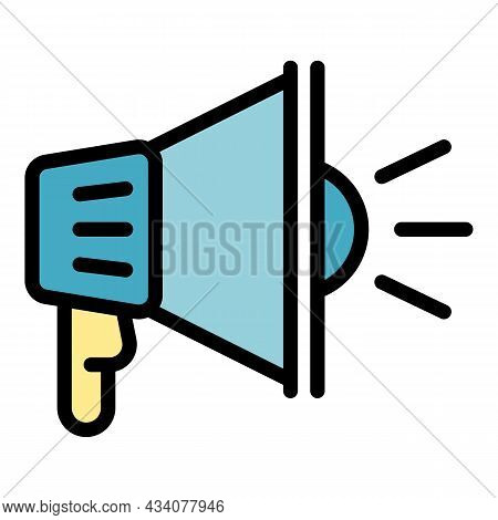 Protest Megaphone Icon. Outline Protest Megaphone Vector Icon Color Flat Isolated
