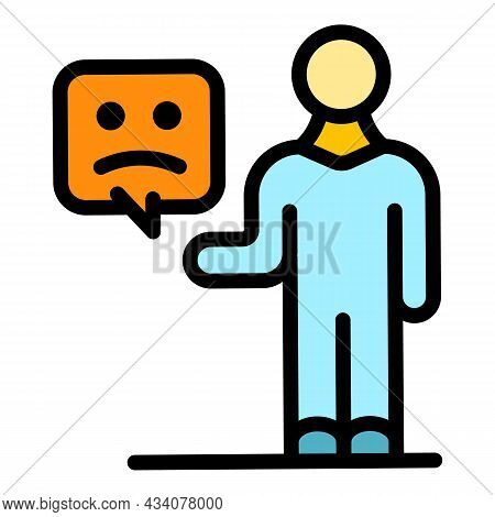 Sms Dislike Icon. Outline Sms Dislike Vector Icon Color Flat Isolated