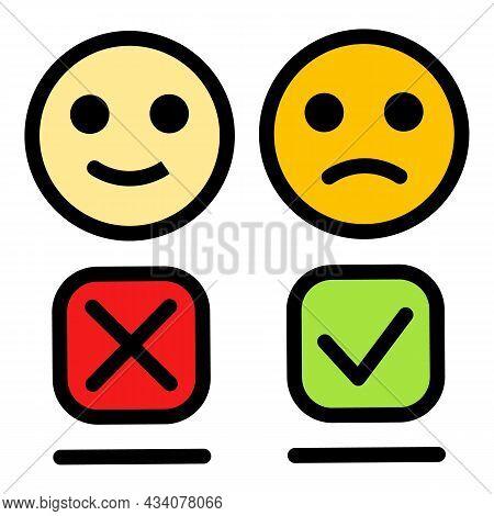 Emoji Dislike Icon. Outline Emoji Dislike Vector Icon Color Flat Isolated