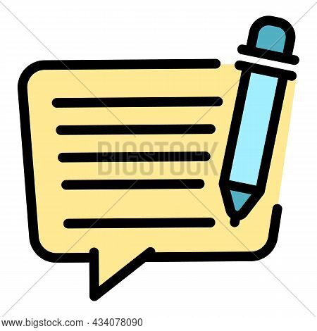 Message Icon. Outline Message Vector Icon Color Flat Isolated