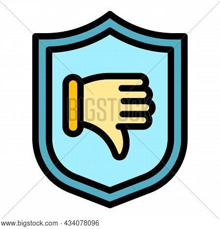 Shield Dislike Icon. Outline Shield Dislike Vector Icon Color Flat Isolated