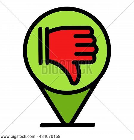 Dislike Gps Location Icon. Outline Dislike Gps Location Vector Icon Color Flat Isolated