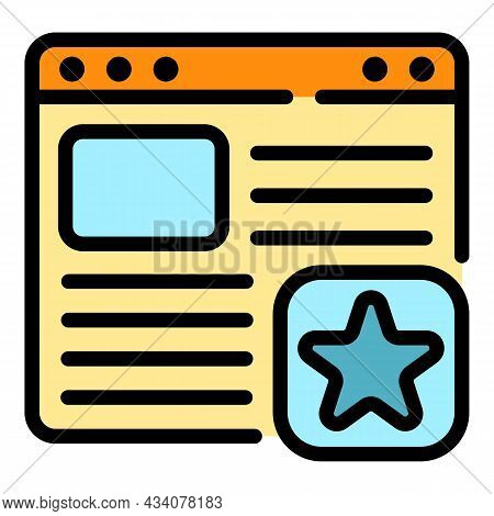 Favorite Web Page Icon. Outline Favorite Web Page Vector Icon Color Flat Isolated