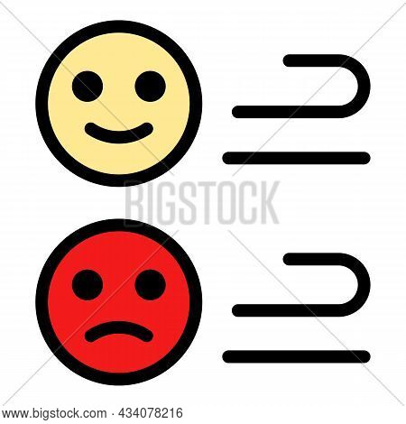 Online Emoji Icon. Outline Online Emoji Vector Icon Color Flat Isolated