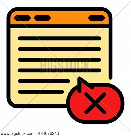 Dislike Web Page Icon. Outline Dislike Web Page Vector Icon Color Flat Isolated