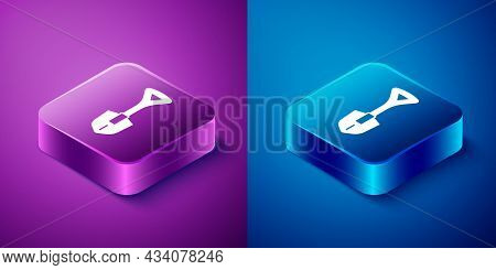 Isometric Shovel Icon Isolated On Blue And Purple Background. Gardening Tool. Tool For Horticulture,