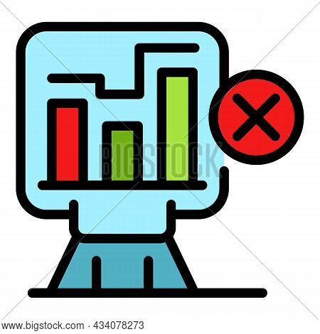 Graph Report Dislike Icon. Outline Graph Report Dislike Vector Icon Color Flat Isolated